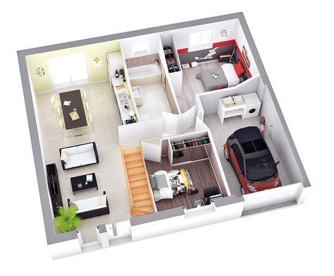 plan maison bel étage en 3d Modèle KEA- Cuisine Ouverte- Grand