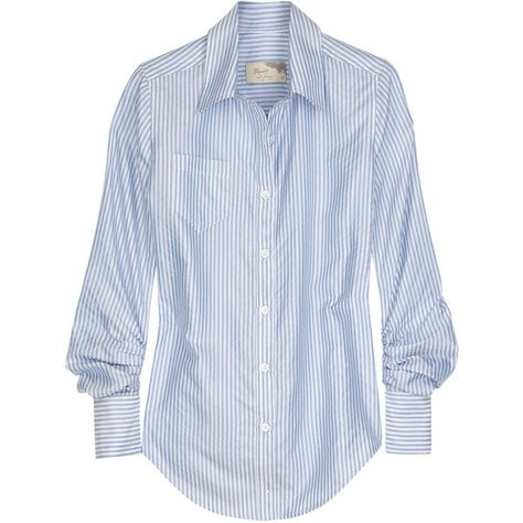 cce9388175d518 Elizabeth and James Schoolboy silk shirt (340 BAM) ❤ liked on Polyvore  featuring tops