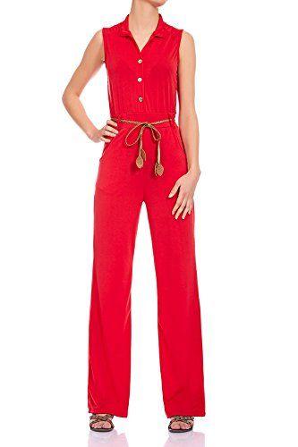 Laeticia Dreams Eleganter Damen Overall Jumpsuit V Ausschnitt S M L XL