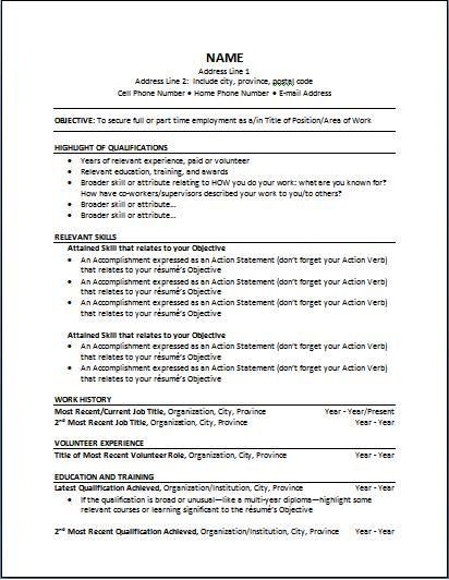 Cv Template Canada Functional Resume Template Functional