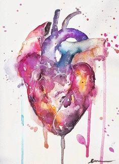 Ich werde dich nie zurücklassen. Ursprüngliche Aquarellmalerei von enondebelen. #Herz...  #aquarellmalerei #enondebelen #ursprungliche #werde #zurucklassen