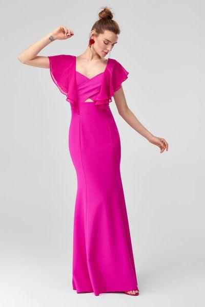 Fusya Volanli Abiye Elbise Trendyolmilla Trendyol The Dress Elbise Moda Stilleri
