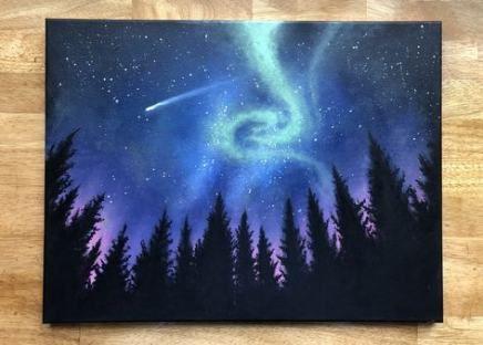 21 Best Ideas For Painting Ideas Acrylic Easy Night Skies Aurora Borealis Painting Acrylics Night Sky Painting Night Painting