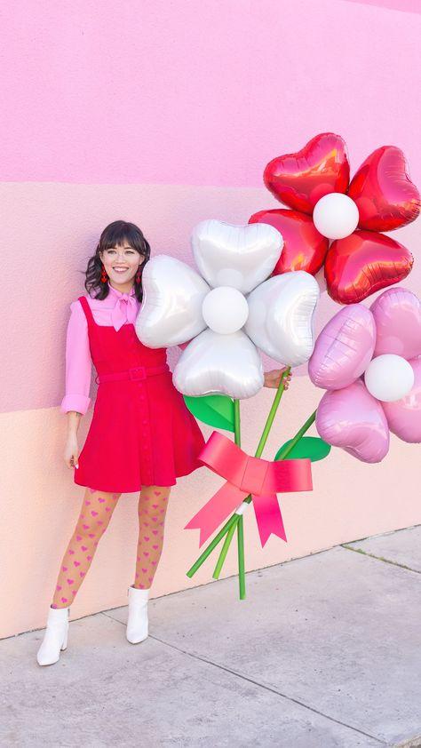Balloon Crafts, Birthday Balloon Decorations, Balloon Gift, Diy Party Decorations, Birthday Balloons, Valentines Balloons, Valentines Diy, Valentine Mini Session, Valentine Bouquet