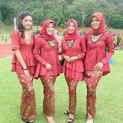 Model Kebaya Embos Merah Hijab Rok Panjang Dress Kebaya Muslim