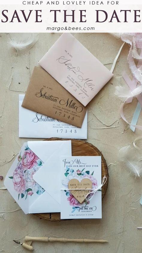 The best idea for #keepyourbudget  Lovley and cheap #savethedate with magnet and pastel flowers  #margoandbees #weddingbudget #cheapstationery #weddinginvitations #pastelpinkwedding