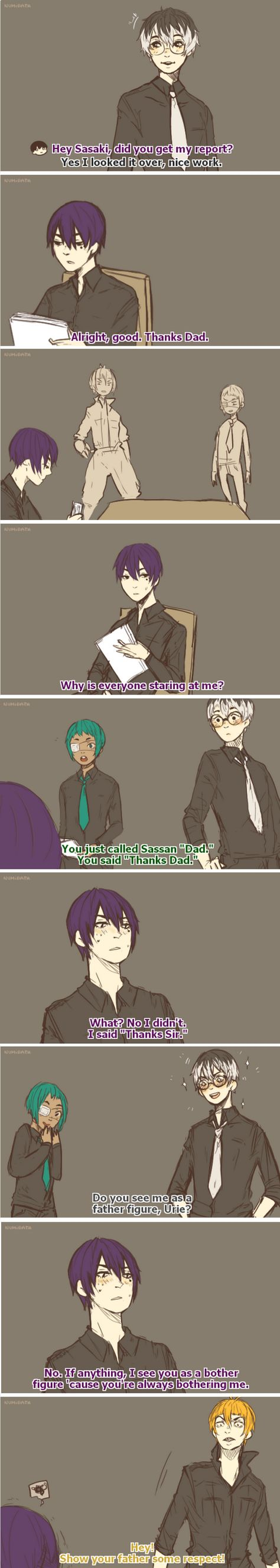 Sasaki'd just be happy that his family image is catching on :) - Haise x Urie Tokyo Ghoul re: