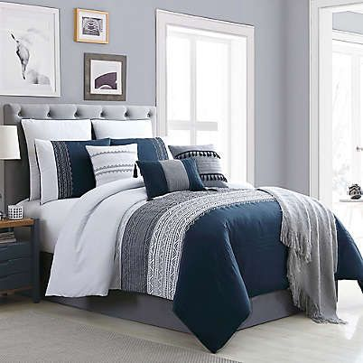 Hilden 10 Piece Queen Comforter Set In Navy Grey Home Bedroom