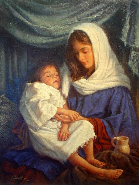 Savior's Hands by Corbert Gauthier (American) Mary with her young child Jesus, before they fled into Egypt.