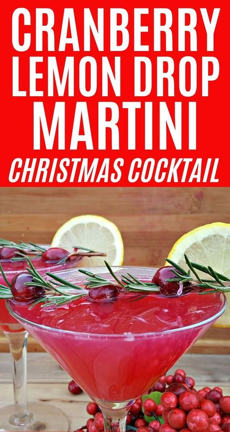 Cranberry Lemon Drop Martinis are a festive Christmas cocktail. This cranberry m… Cranberry Lemon Drop Martinis are a festive Christmas cocktail. This cranberry martini recipe uses a fresh cranberry simple syrup and is garnished with rosemary and lemons. Cocktail Drinks, Fun Drinks, Yummy Drinks, Cocktail Recipes, Cocktail Ideas, Detox Drinks, Mixed Drinks, Lemon Drop Martini, Christmas Drinks