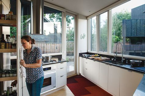 """My favorite spot is the kitchen,"" says Kaja Taft of the prefab home she shares with her family in Portland. ""I can stand in it and cook and converse with everyone."""