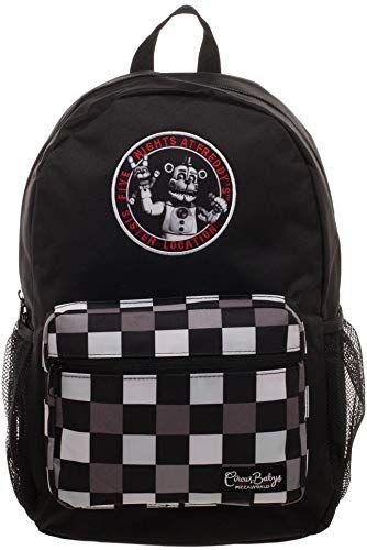 Fnaf Black Checkered Print Backpack