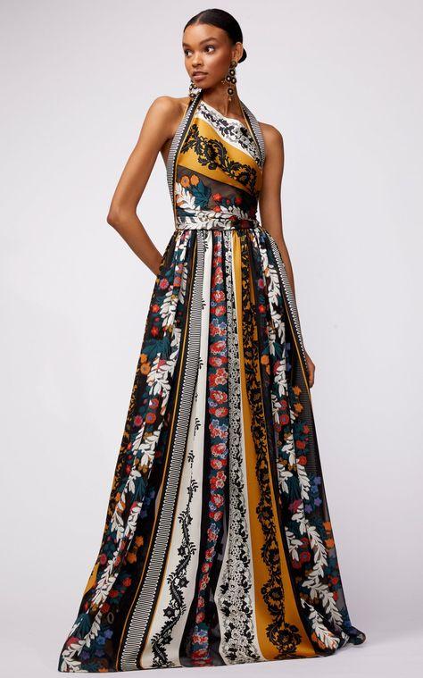 Asymmetric Neck Halter Gown With Paneled Print by Oscar de la Renta PF19   Moda Operandi