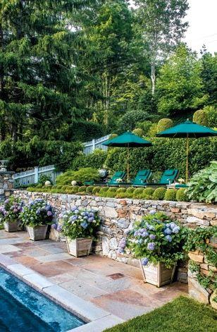 Captivating Hillside Pool, Terraced Retaining Walls, Lighting, Landscape,Ipe Pergola    Steep Backyard Landscaping   Pinterest   Pergolas, Landscaping And Walls