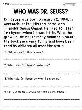 Dr Seuss Reading Comprehension Passages And Activities Dr Seuss