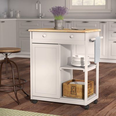 August Grove Woolsey Kitchen Cart With Wooden Top Kitchen Cart Wooden Tops Wood Countertops