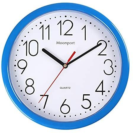 Moonport 10 Inch Wall Clock Silent Non Ticking Quartz Battery Operated Round Easy To Read For Home Office School Clock Blue In 2020 Wall Clock Silent Clock Wall Clock
