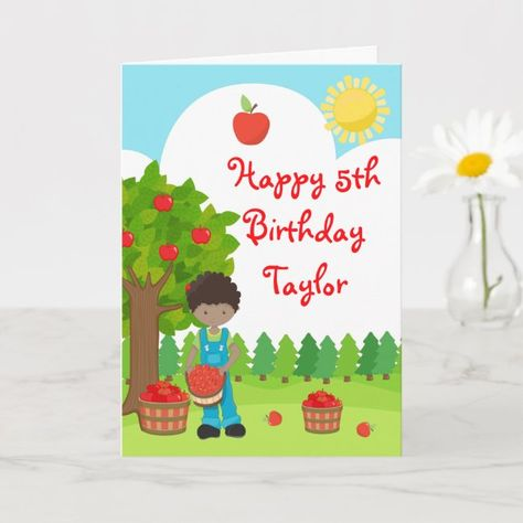 Fall Apple Orchard Birthday African American Boy Card