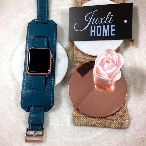 Apple Watch Band, 42mm, 38mm, Blue Leather Watch Band, Apple Leather Band, Apple Watch Cuff, Blue Watch Strap, Apple Watch Sport, Rose Gold!