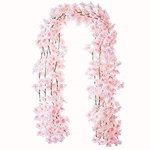 Yxmyh 4pcs Artificial Cherry Blossom Flower Vines Hanging Silk Flowers Garland For Wedding Party Home Decor 5 9 Feet Silk Flower Arrangements Cherry Blossom Wedding Theme Silk Flower Arrangements Silk Flowers