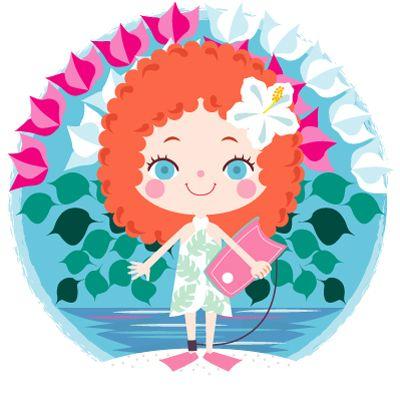 ブーゲンビリアの花 ボディーボードを楽しむ南国の少女のイラスト かわいいイラスト 可愛いイラスト イラスト