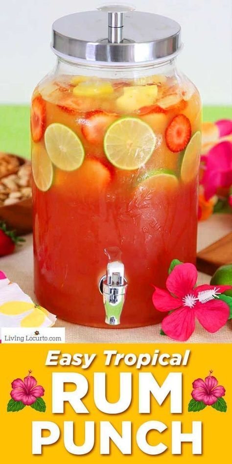 Tropical rum punch is a delicious summer cocktail recipe for a luau party or to sip by the pool! A mix of juice and coconut rum for a pretty layered drink. You'll feel like you're at the beach! food and cocktails Tropical Rum Punch Party Drinks Alcohol, Alcohol Drink Recipes, Liquor Drinks, Tropical Drink Recipes, Malibu Rum Drinks, Summer Drink Recipes, Alcoholic Party Drinks, Beach Party Drinks, Mixed Drink Recipes