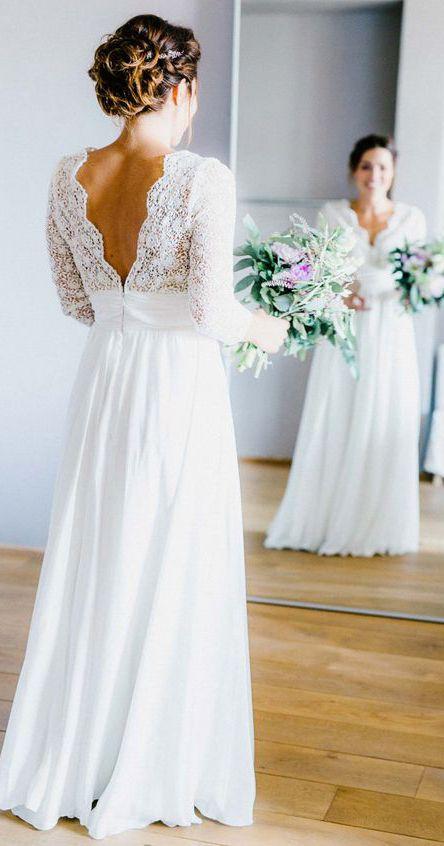 3 4 Sleeve See Through Backless Lace Chiffon Rustic Wedding Dresses Awd1261 Wedding Dress Chiffon Beach Wedding Dress Boho Bridal Wedding Dresses