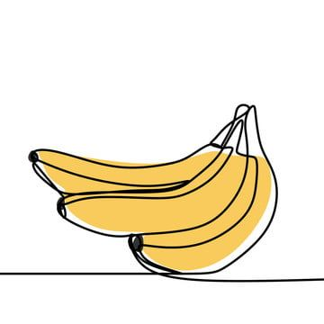 Continuous Line Drawing Of Banana Fruit Minimalism Design Vector Illustration Banana Clipart Black And White Banana Vector Png And Vector With Transparent Ba Line Art Drawings Line Drawing Yellow Art