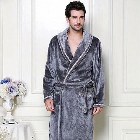 1dd5fa2246e0 Kuiduo Couple Flannel Badge Bathrobe Nightgown Thickened Lapel Bathrobe  Sleepwear Pajamas Towelling (Color   Grey