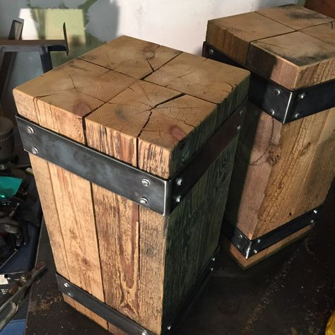 Vintage Industrial Decor - **Details** Wood type: cedar beams Wood finish: Satin clear coat Metal type: Flat bar steel Metal finish: Matte clear coat Feet added to bottom for floor protection. No assembly required, ships as one piece.