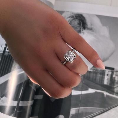 6034ea4e241c8 Real 100% 925 Sterling Silver Wedding Rings for Women Princess-cut ...