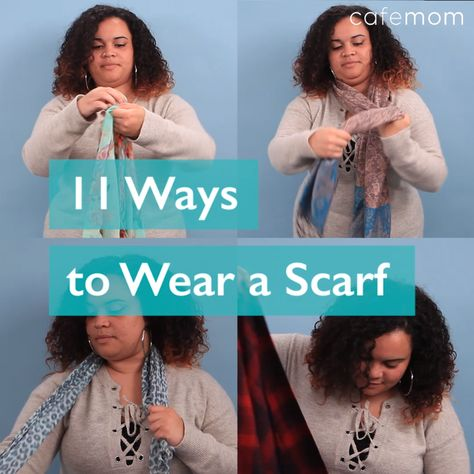 With all of the different scarf options out there, it can be overwhelming to figure out new ways to wear one. Keep watching for all the different ways to tie a scarf -- and click through for more options! #styleinspiration #fashioninspiration #scarf