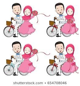 Muslim Wedding Cartoon Bride And Groom Riding Bicycle With Flower