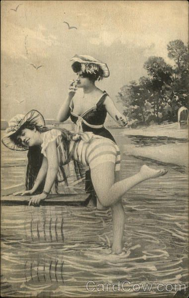 Старинные открытки пляжная мода
