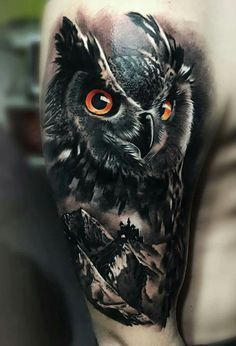 owl over mountainscape men's arm tattoo