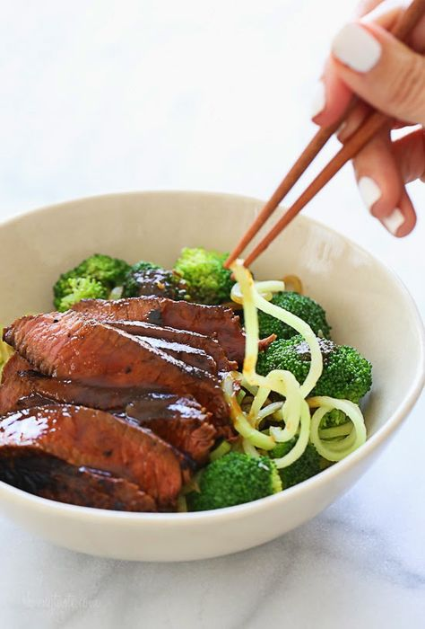 Spiralized Shanghai Beef and Broccoli #spiralizer #zoodles #broodles