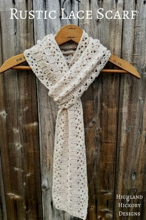 Rustic Lace Scarf - Highland Hickory Designs - Free Crochet Pattern Crochet the light and airy Rustic Lace Scarf with this free and beginner friendly pattern. You can create a standard scarf or infinity scarf. Crochet Lace Scarf, Bonnet Crochet, Crochet Beanie, Crochet Scarves, Crochet Clothes, Crocheted Scarves Free Patterns, Crochet Cowls, Knitted Shawls, Beginner Crochet Scarf