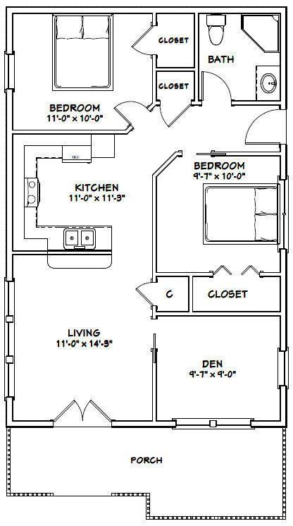 24x36 House 2 Bedroom 1 Bath 864 Sq Ft Pdf Floor Plan