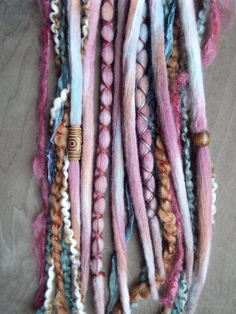 10  Custom Clip In or Braid In Dreadlock Extensions Color Mix: Pomegranate Boho Tie Dye Wool Synthet