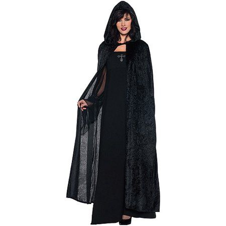 Long BLACK Velvet Hooded Halloween Adult Costume Cape Unisex Black Panne New