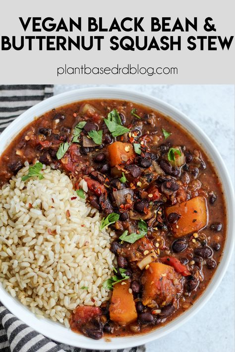 This black bean & butternut squash stew is smoky with a taste of sweet coming from a special hit of cinnamon. Easy and perfect for meal prep and naturally gluten free! #vegan #stew #dinnerrecipes #blackbeans
