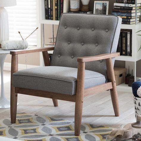 Brilliant Baxton Studio Sorrento Mid Century Gray Fabric Upholstered Andrewgaddart Wooden Chair Designs For Living Room Andrewgaddartcom