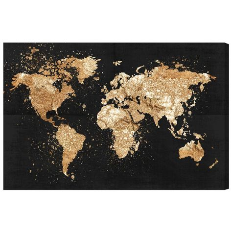 The world is at your disposal, especially when you feature this fine art canvas print by The Oliver Gal Artist Co. An elegant twist on cartography, it offers a gilded view of earth over a cool black background. Enjoy splendid detail and shading, as well as a useful and educational advantage. Made in the USA, this professional print is hand-stretched and gallery-wrapped. - Fine art canvas print by the Oliver Gal artist co - Professionally hand stretched gallery wrapped in sustainable, FSC certifi