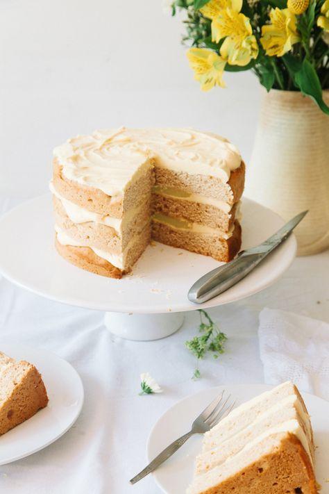 Vegan Elderflower Cake with Lemon Curd Filling & White Chocolate Frosting | Wallflower Kitchen