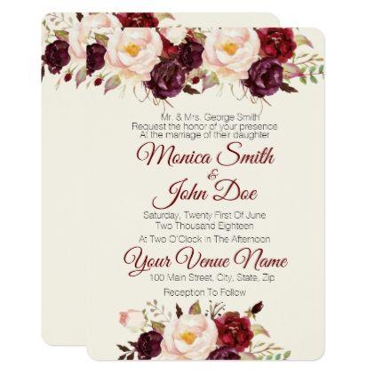 Marsala Burgundy Watercolor Wedding Invitation Zazzle Com