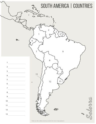 03 Printable South America countries map quiz pdf Outline
