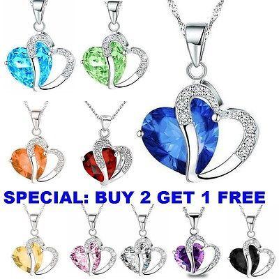Fashion Women Heart Crystal Rhinestone Silver Chain Pendant Necklace Charm New