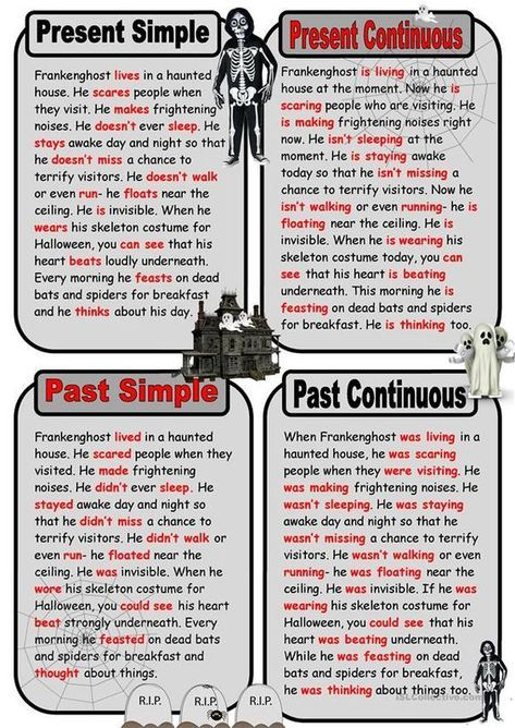 Key Ghost Story In Present And Past Tenses Learn English Tenses English English Writing Skills
