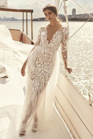 Embroidered Floral Illusion Bodysuit Wedding Dress David S Bridal Davids Bridal Wedding Dresses Wedding Dresses Dresses