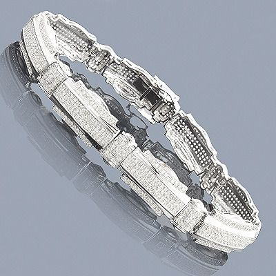 This Mens Silver Diamond Bracelet weighs approximately 30 grams